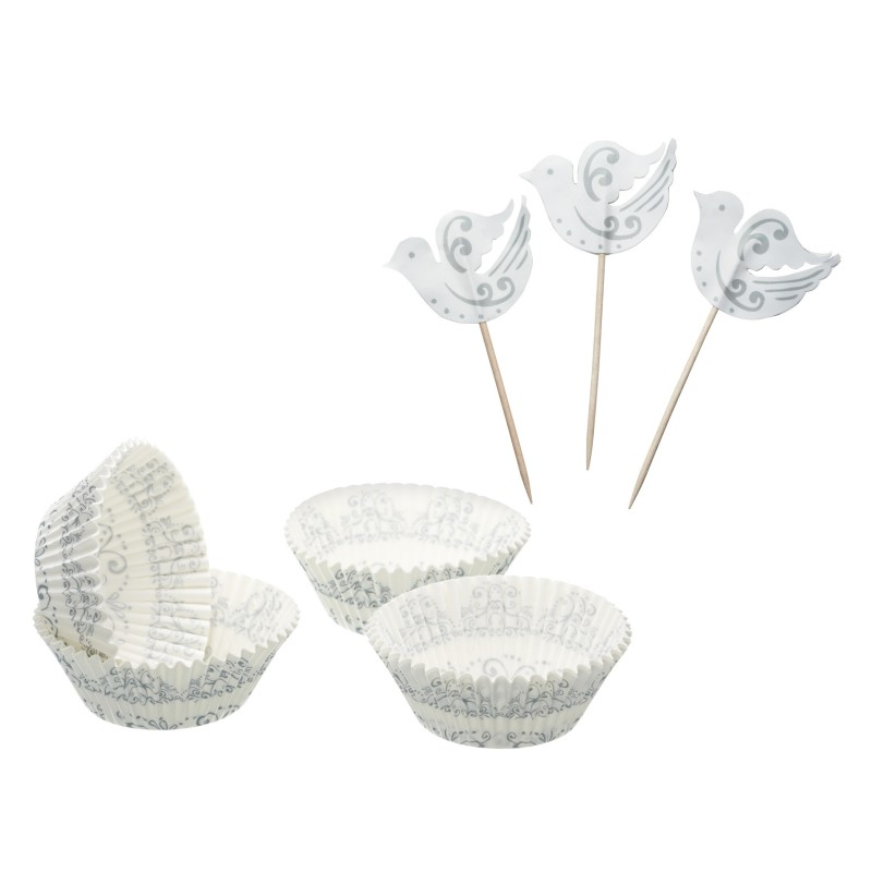 Kit per cupcake Silver Birds - Kitchencraft -
