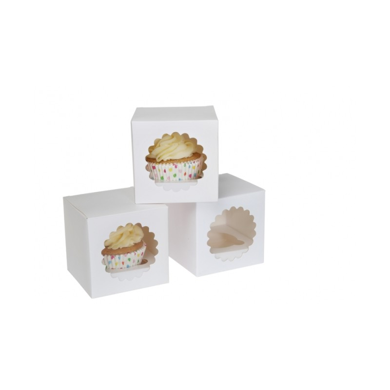 Scatola per cupcakes singolo bianca (3 pz) - House of Marie