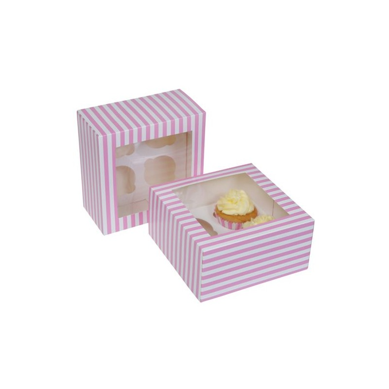 2 scatole porta cupcake a righe (4 posti) - House of Marie