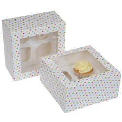 2 scatole porta cupcake a pois (4 posti) - House of Marie